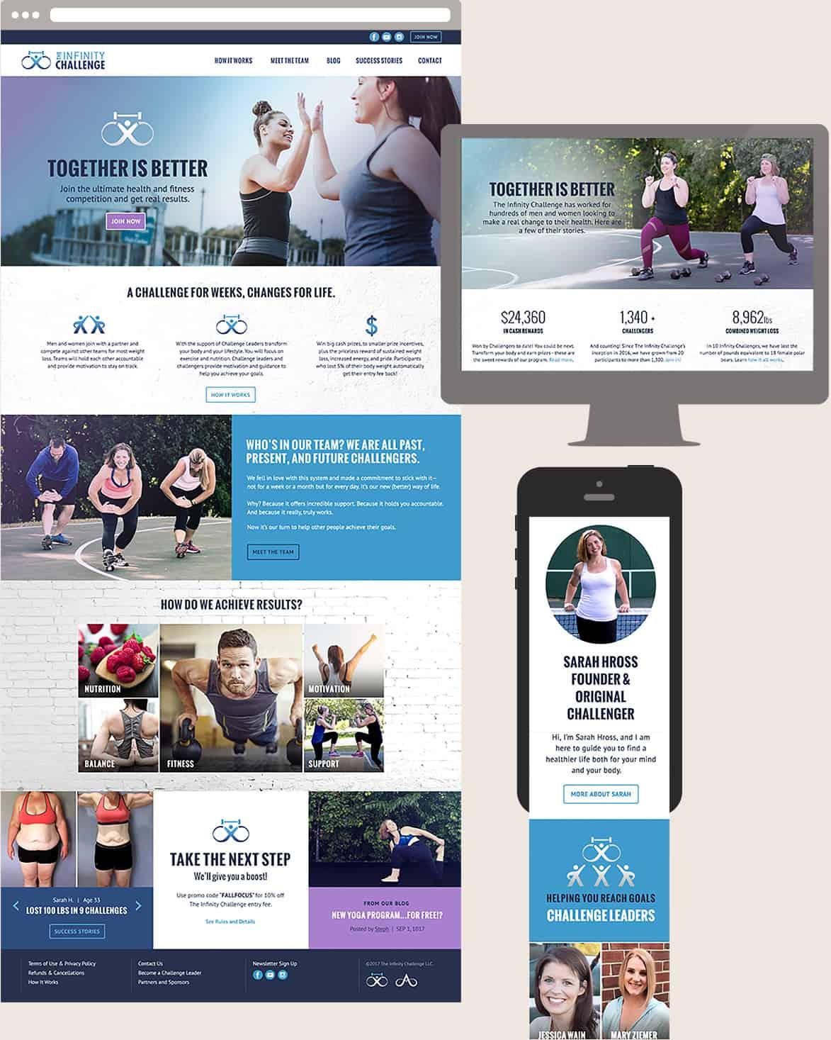 Responsive Design Screens of The Infinity Challenge Website