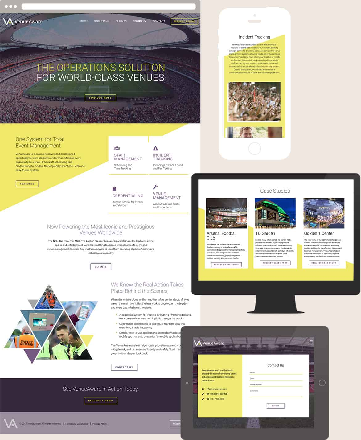 Responsive website design screens for VenueAware