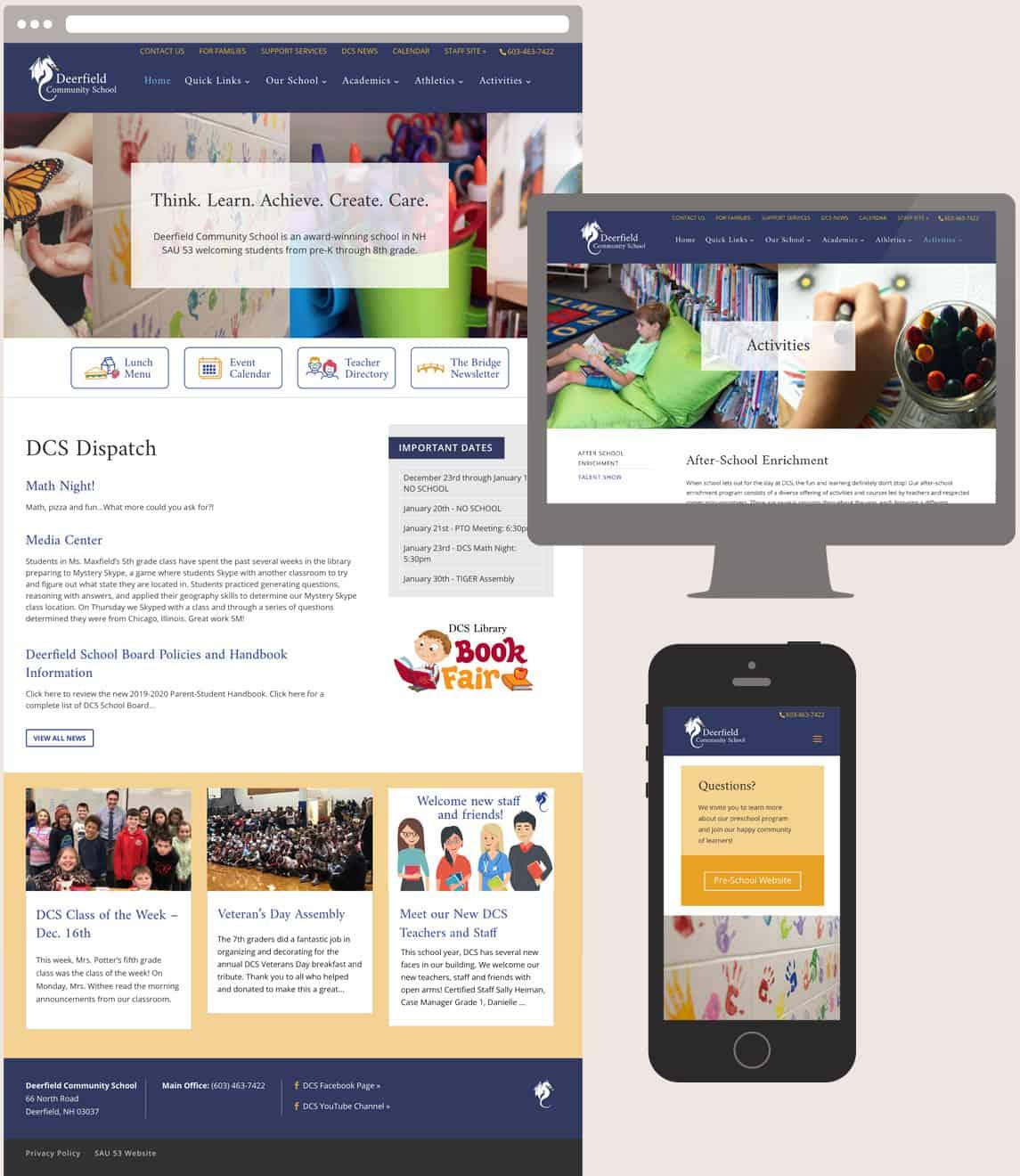 Responsive website screens of the Deerfield Community School website.