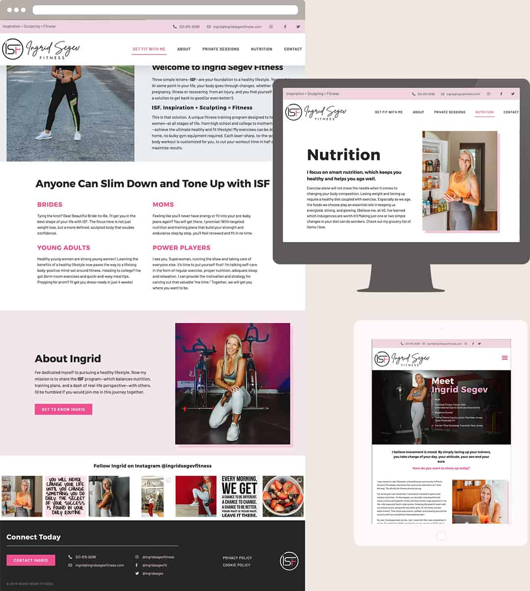Ingrid Segev Fitness website design shown in browser, desktop and tablet views.