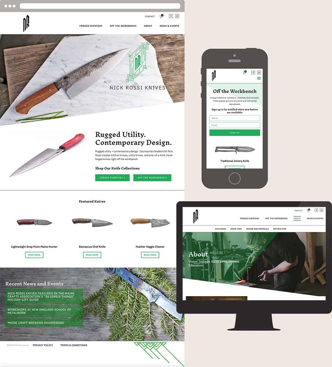 Website Design visuals for NickRossiKnives.com by Upper Notch